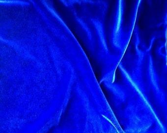 """Royal Blue Velvet  Fabric, Width 57"""",  Cobalt Blue Velvet, Modern Fabrics"""