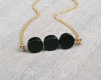 Black onyx necklace, Gold necklace, Onyx beads necklace, Artisan jewelry, Onyx pendant, Black gemstone necklace, Onyx jewelry
