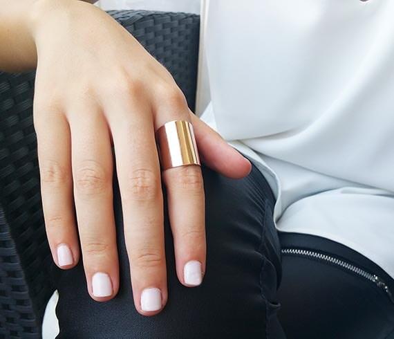 Rose gold ring Wide cigar band ring Adjustable ring Tube