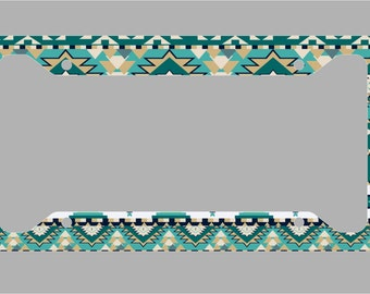 Blue Green Aztec Pattern / License Plate Frame