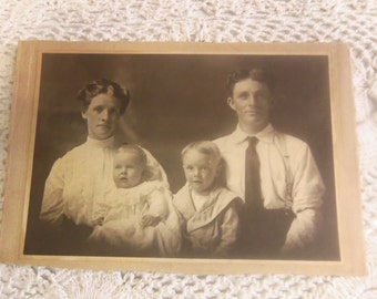 Vintage Black and White Family Photograph on Cardboard Backing B126