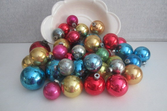 Lot of vintage solid color glass ornaments misc