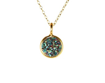 Druzy necklace - drusy necklace - raw crystal necklace - a gold vermeil lined titanium druzy on a 14k gold vermeil chain
