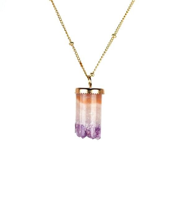 Amethyst crystal necklace - raw amethyst - crystal - february birthstone - a gold topped amethyst cylinder on a 14k gold vermeil chain
