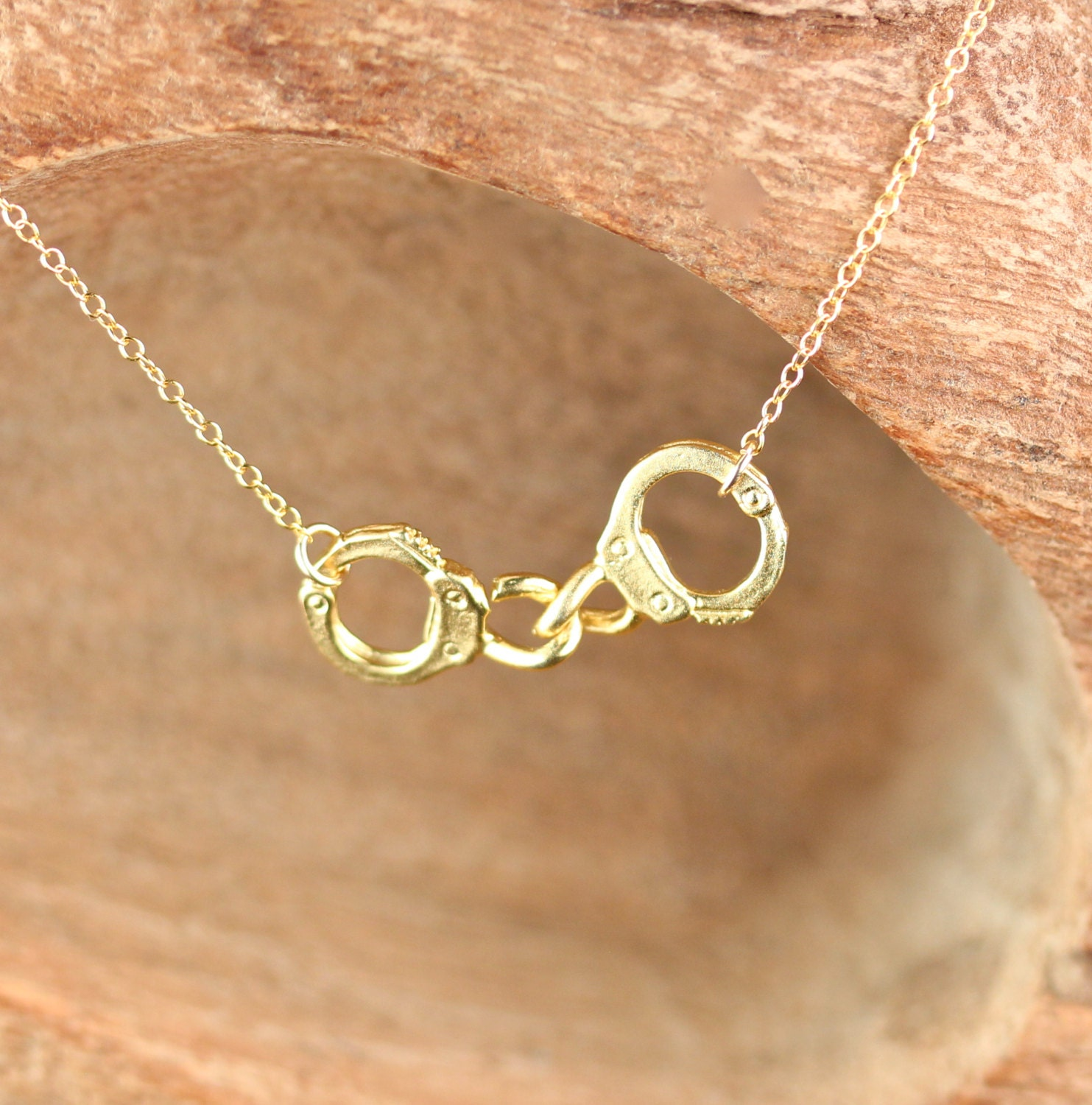 Handcuff Necklace Gold: Partners In Crime