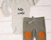 Boy Hello World Outfit..Newborn Onesie..Newborn personalized Outfit..Baby Shower Gift..Newborn Gift..Baby Boy Outfit..Newborn Pants