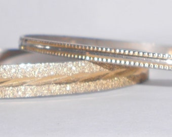 Vintage Bangle bracelet set of 2 etched metal costume jewelry 1970s