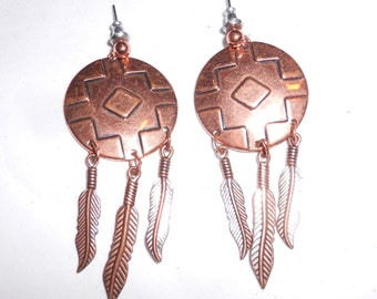 Vintage earrings  Southwestern pierced dangle Shield and feathers cooper look posts 1980s jewelry