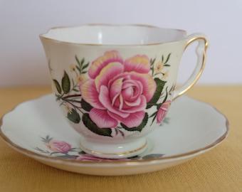 Large Rose Tea Cup, Colclough Tea Cup, English Teacup and Saucer English Bone China Tea Set Tea Party Wedding Bridal Table