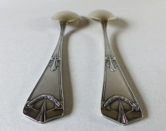 Antique French Set of Salad Servers - Typical of French Art Deco Style