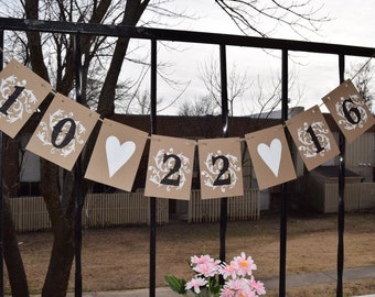 Save the Date banner Engagement Banner Wedding Banner  Custom color  Photo - Prop