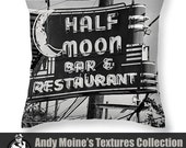 Designer Black & White Throw Pillow - Half Moon Bar Sign, Neon Lights, Old Signs New Orleans, Louisiana - Fine Art Photography by Andy Moine