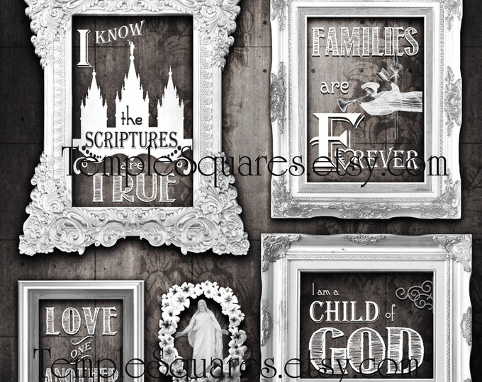 Printable LARGE poster sizes LDS 2016 primary theme I Know the Scriptures Are True Art bundle Greys vintage chalkboard subway art grunge