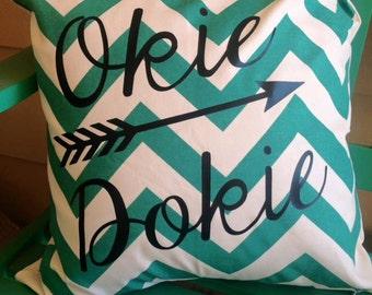 18 x 18 Pillow Cover, green chevron, Okie Dokie