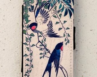 iphone 4, 5 or 6 case -  Galaxy S3 S4 S5 S6 mini -  wallet flip case -  cover - Swallow - Japanese - Woodblock - Bird - HTC