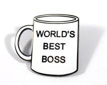 The Office World's Best Boss Mug Hard Enamel Pin - Michael Scott - Dwight Schrute - Pam Beesly - Jim Halpert - Lapel Pin