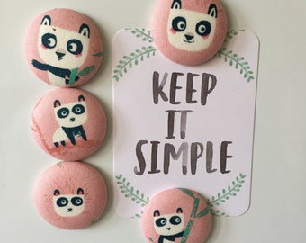 Panda Magnet Set, Fabric Covered Button Fridge Magnets Set of 5 in Gift Tin