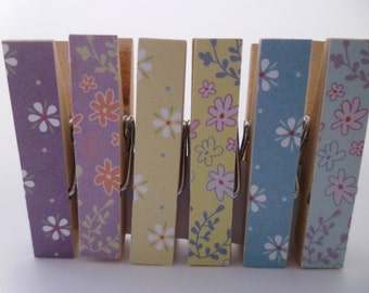 Mini Pegs Clothespin Magnets Magnetic Floral Variety
