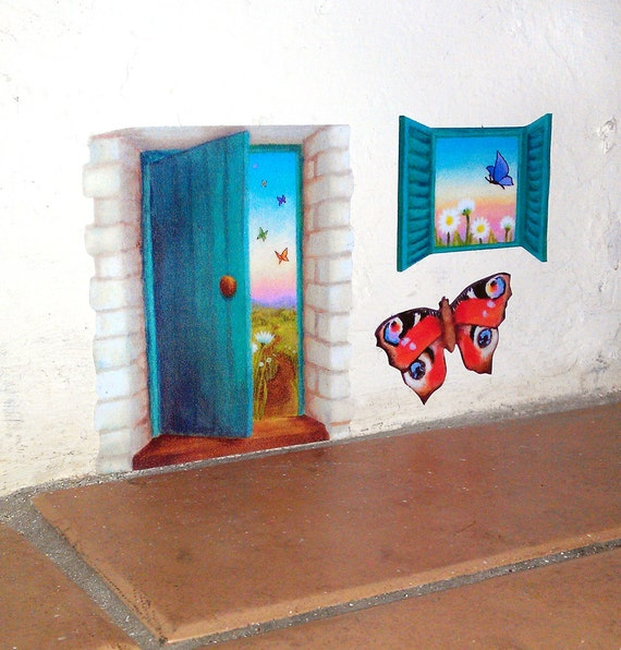 Teal fairy door wall sticker with butterfly and daisy fields for Fairy door for wall