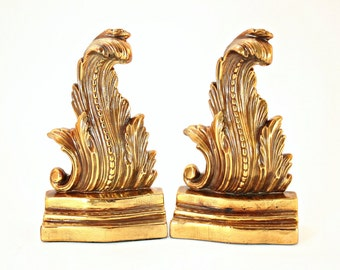 Bookends, Bronze Bookends, MB Bookends, Marion Bronze Bookends, Rare Marion Bronze Bookends, Flame Leaf Bookends, Acanthus Leaf Bookends