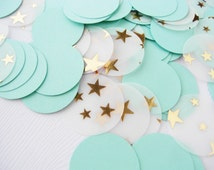 Mint and Gold Confetti Cirlces | Twinkle Twinkle Little Stars | Party Confetti 100 ct