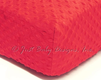 Fitted Crib Sheet - Minky Dot Red