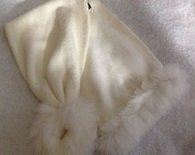 Woman's White Knitted Rabbit Fur Scarf ~ Accessories, Neck Warmer