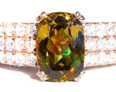 Very Rare Mali Garnet & Diamond 18K Ring