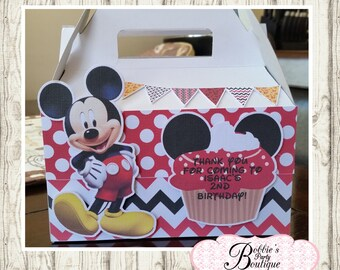 Mickey Mouse party favor box, Mickey Mouse gable box, 10 Mickey Mouse party favor gable box, Mickey Mouse favor box