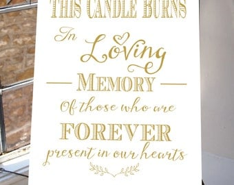 This Candle Burns In Loving Memory Wedding Sign, Memorial Table, Gold and white, Printable INSTANT DOWNLOAD, wedding Table, white suite
