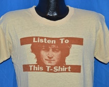 70s John Lennon Walls and Bridges Listen to This Beige Vintage t-shirt  Medium