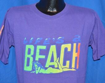 90s Life's a Beach Neon Puffy Paint Purple Vintage t-shirt Medium