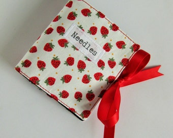 Fabric Needle case with Cute Strawberry Fabric, Sewing Needle Storage, Sewing Supplies, Sewing Notions, Gift for Her