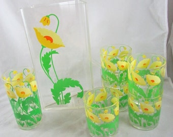 Lucite Pitcher with 6 Glasses Poppie Pattern HJ Stotter 1980s