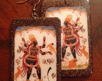 Hindu Goddess Kali Earrings w/ Glitter