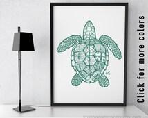 sea turtle drawing, zentangle download, nautical theme art, beach graphics, printable ocean life, digital pdf prints, pen ink line drawings