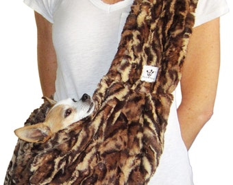 Dog Sling-Leopard Faux Fur