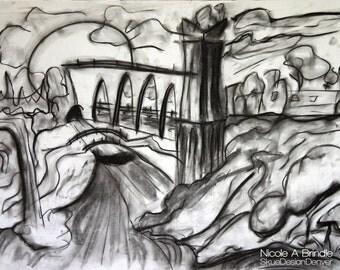Whimsical Charcoal Landscape, 18x24 Original Artwork, Black & White Framed