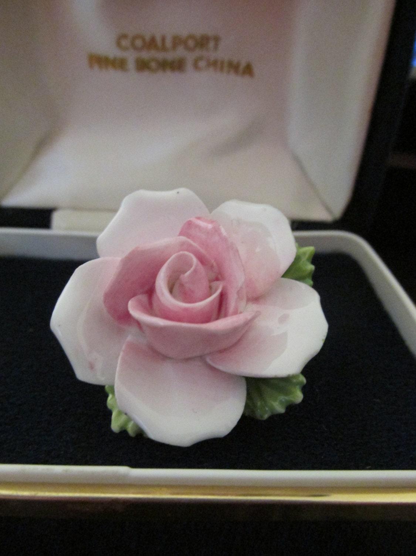 Coalport Vintage Rose Flower Bone China Brooch Pin Large