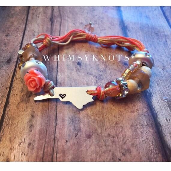 North Carolina--state- bracelet/ North Carolina Jewelry . Personalized, Hand-Stamped Jewelry