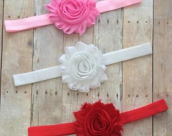 Set of 3  Shabby Flower Headbands-Valentine Headband-First Valentine's Day Headband-Valentine's Day Headband-Valentines Bow-Red Headband