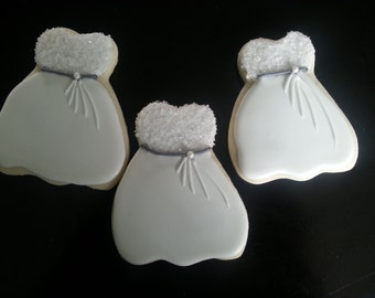 Wedding Dress Sugar Cookies, Bacherlorette Sugar Cookies, Engagement Party Sugar Cookies
