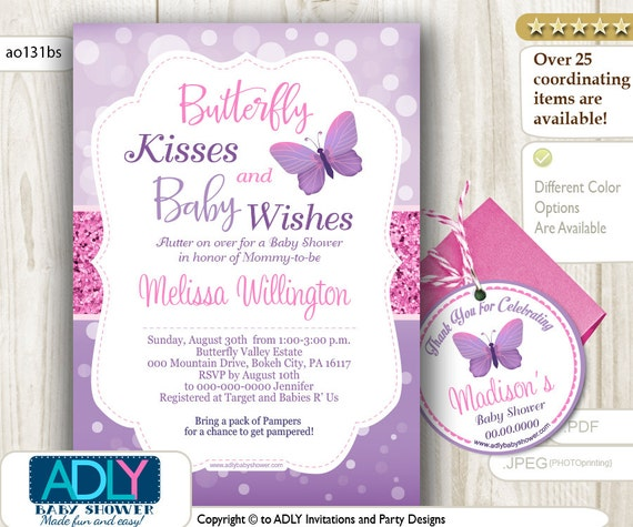 Purple Pink Butterfly Kisses And Baby WIshes Invitation For Baby Shower Plus Thank You Favor Tag