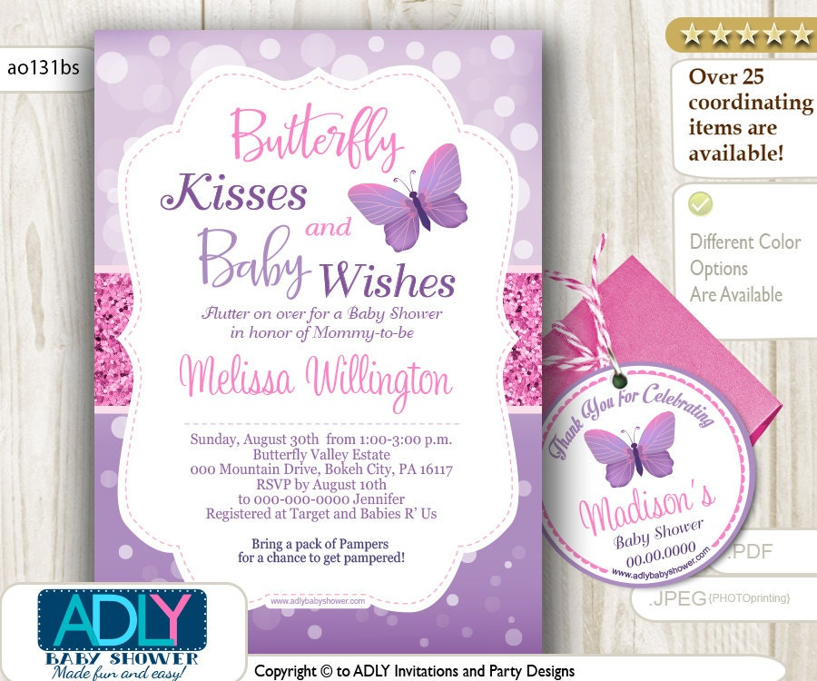 Butterfly Baby Shower Invites: Purple Pink Butterfly Kisses And Baby WIshes Invitation For
