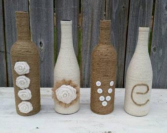Shabby chic LOVE bottles