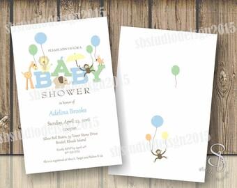 Safari Baby Shower boy Invitation 2 sided