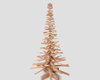 Wooden Christmas tree made out of cherry wood branches