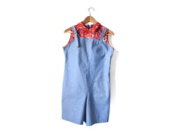 Girls Overalls, 1950s Kids Clothing, 50s Girls Clothing, Denim Overalls, Vintage 1950s Girls Size 10 overalls Romper
