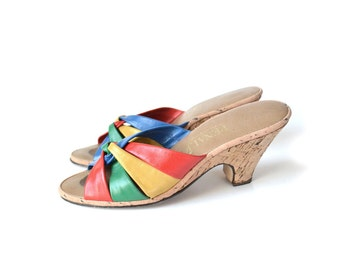 Cork Wedge Sandals, Rainbow Shoes, Rainbow  Sandals, 1980s Shoes, Womens, Size 9 Sandal SHoes, Wegde Sanal, Multi Shoes,