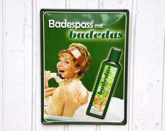 Metal Advertising Sign - Vintage German Advertising Signage - Tin Sign - Home Decor - Loft Decor